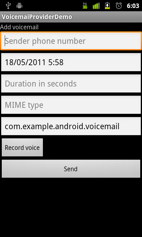 VoicemailProviderDemo - Voicemail Provider Demo   Android